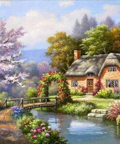 Ældre hus ved å - diamond paint