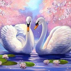 2 svaner i lilla