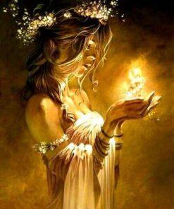 Smuk pige med lys