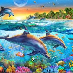 Delfiner i diamond paint