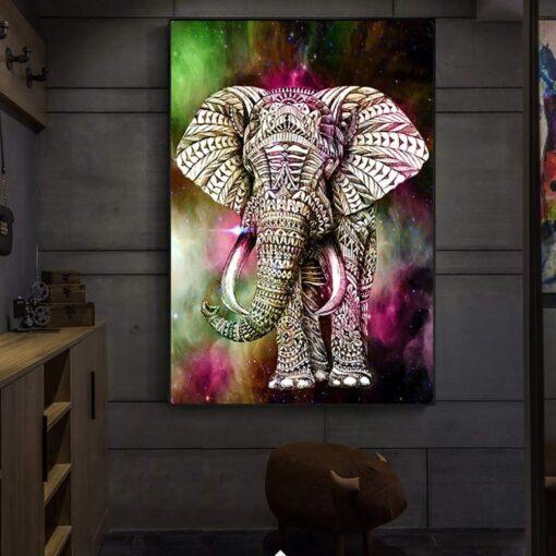 Elefant med mønster i diamond paint