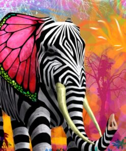 Elefant med zebrastriber i diamond paint