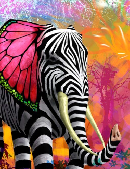 Elefant med zebrastriber i diamond paint