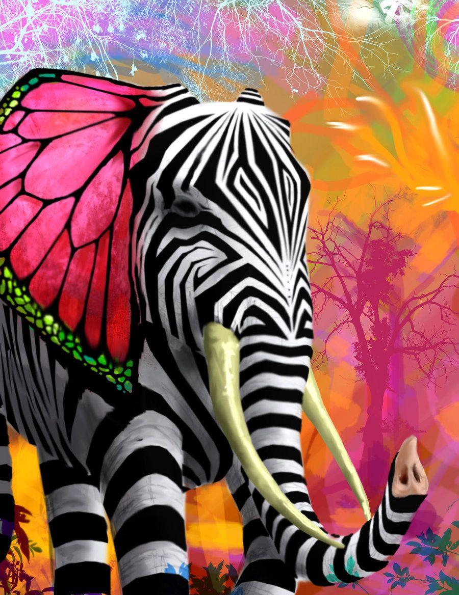 Elefant med zebrastriber