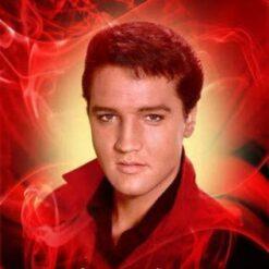Elvis med rød baggrund i diamond paint