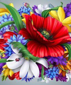Farverigt blomsterbillede i diamond paint