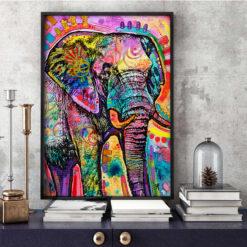 Farverig elefant i diamond paint