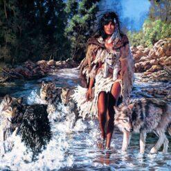 Indianerdame med ulve