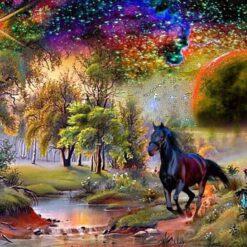 Landskab med hest i diamond paint