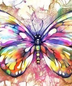 Sommerfugl i mange farver - diamond paint