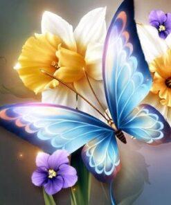 Sommerfugl og blomster i diamond paint