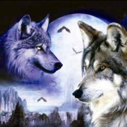 Ulve i måneskin i diamond paint