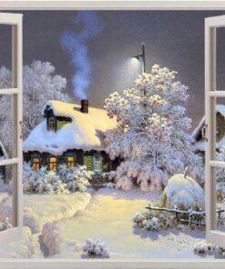 Vindue med vinterhus i diamond paint
