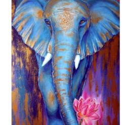 Blå elefant i diamond paint