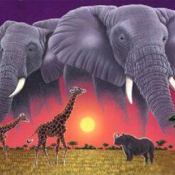 Elefanter, Næsehorn og giraffer i diamond paint