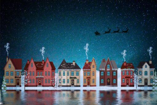 Huse med flyvende julemand i diamond paint