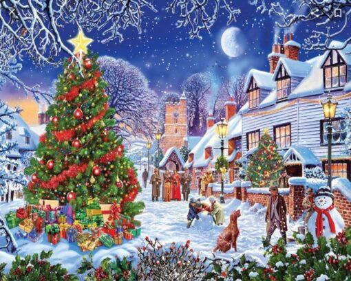 Juleby med juletræ i diamond paint