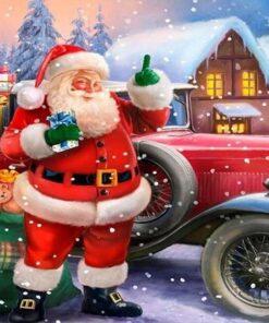 Julemand med gammel bil i diamond paint