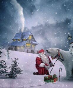 Julemand med isbjørn i diamond paint