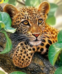 Leopard i træ i diamond paint