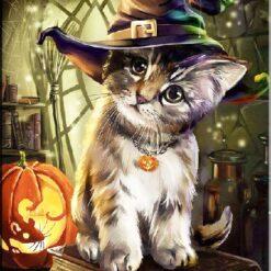 Lille kat med hat og græskar i diamond paint