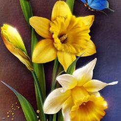 Påskeliljer med sommerfugl og mariehøne i diamond paint