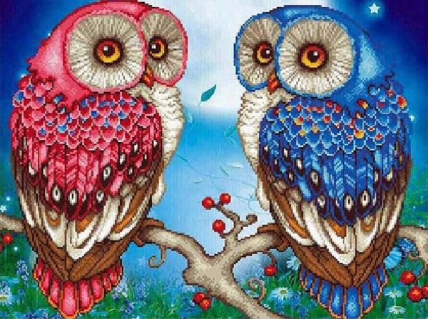 Diamond Painting - Rød og blå ugle thumbnail