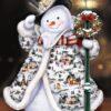 Snemand med julefrakke i diamond paint