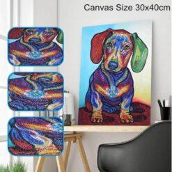 Gravhund i mange farver i diamond paint