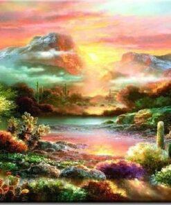 Farverig landskab med solopgang i diamond paint