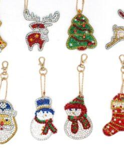 Nøgleringe med julemotiv i diamond paint