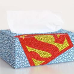 Servietboks med Superman i diamond paint