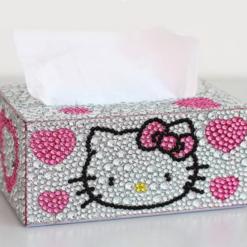 Servietboks med stor Helly Kitty i diamond paint