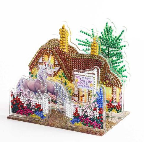 Diamond Painting - 3D-billede af 2 heste foran hus thumbnail