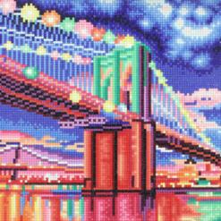 Billede med LED-lys af bro