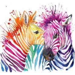 Farverige zebraer i diamond paint