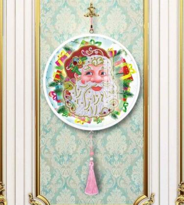 Diamond Painting - Rundt bling-billede af julemand thumbnail