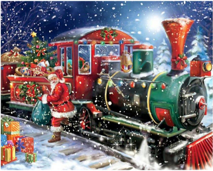 Julemanden med tog med gaver