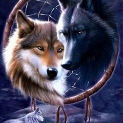 2 ulve i drømmefanger i diamond paint