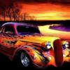 Amerikanerbil med flammer i diamond paint