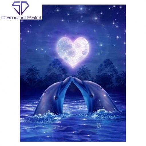 Delfiner og hjerteformet måne