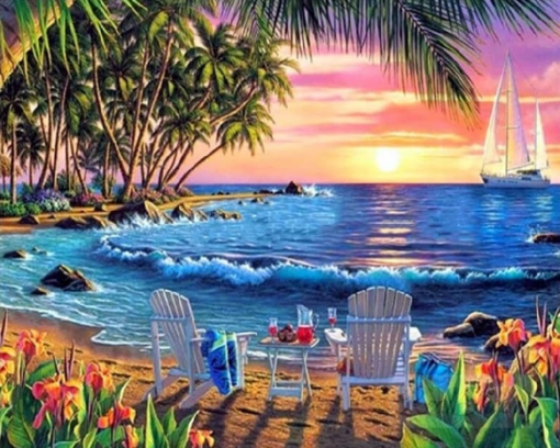 Farverigt strandbillede i diamond paint