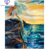 Havfrue på klippe i diamond paint