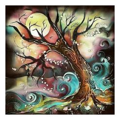 Kunstnerisk træ og bølger i diamond paint
