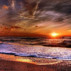 Solnedgang ved strand i diamond paint