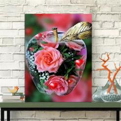 Blomster i æble i diamond paint