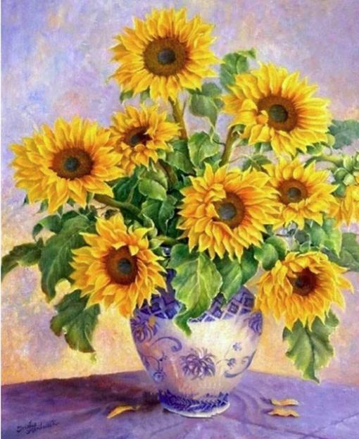 Solsikker i vase - diamond paint