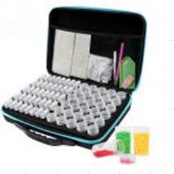 Opbevaringstaske med 30 runde og 40 firkantede bøtter til diamond paint