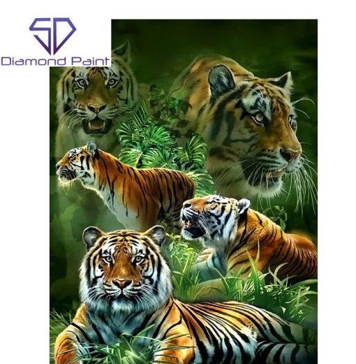 Flot gul tiger i diamond paint