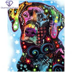 Labrador i mange farver i diamond paint